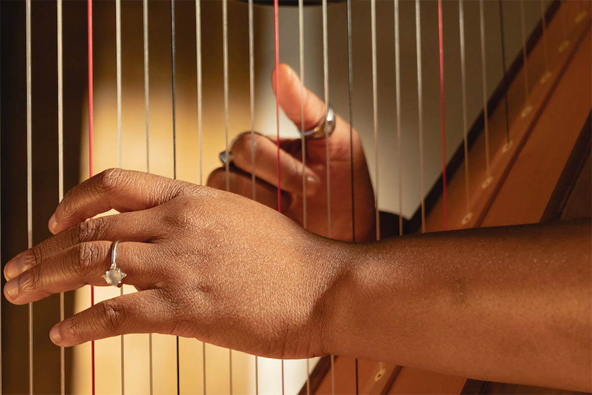 Close up of performer's hands playing the harp.