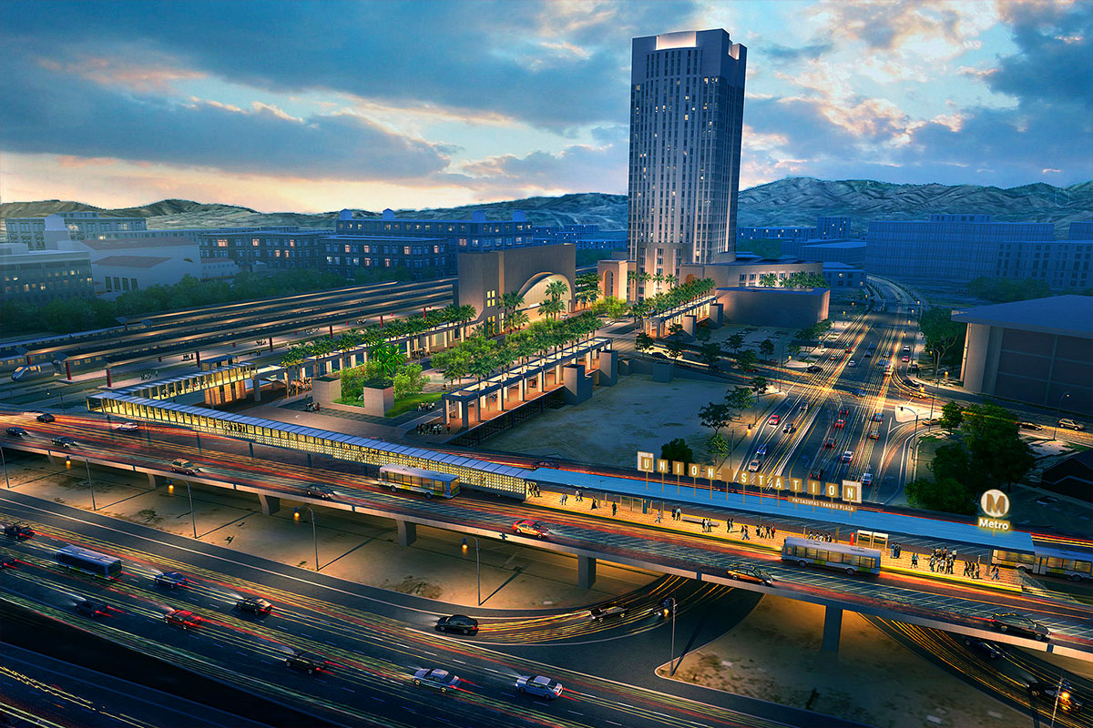 Rendering of Patsaouras Plaza Busway Project